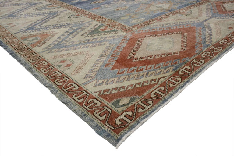 Mid-Century Modern Vintage Turkish Oushak Rug with Modern Nomadic Tribal Southwestern Style For Sale
