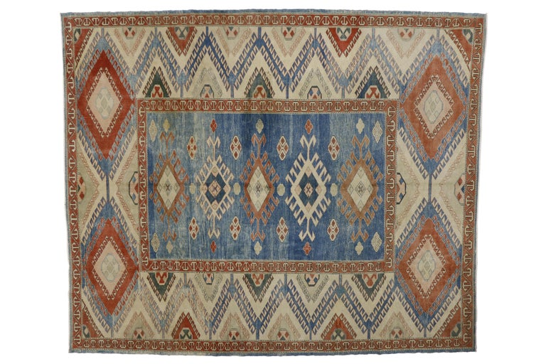 Hand-Knotted Vintage Turkish Oushak Rug with Modern Nomadic Tribal Southwestern Style For Sale