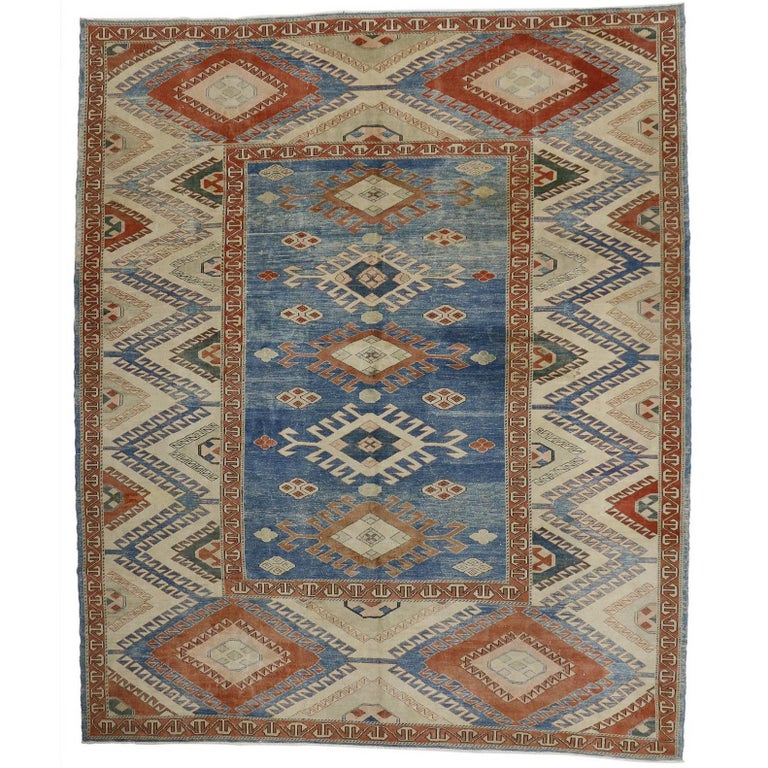 Vintage Turkish Oushak Rug with Modern Nomadic Tribal Southwestern Style For Sale