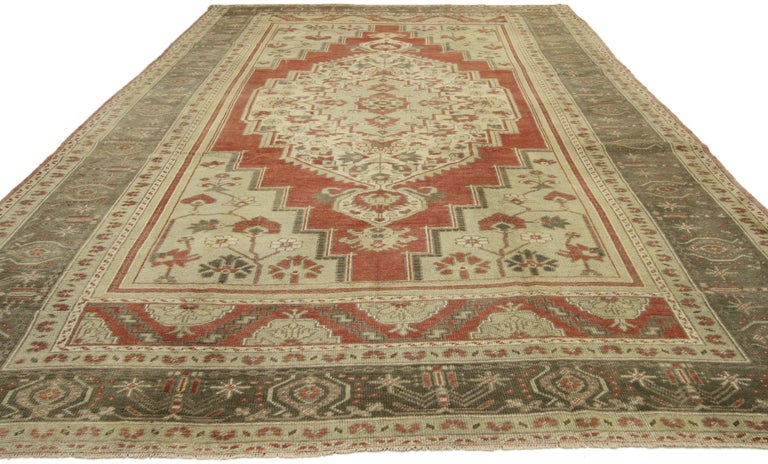 Hand-Knotted Vintage Turkish Oushak Rug with Tudor Style For Sale