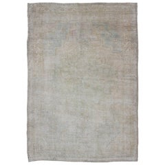 Vintage Turkish Oushak Rug with Understated Design in Muted Tones