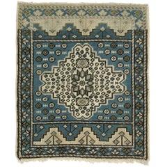 Vintage Turkish Oushak Yastik Scatter Rug, Square Accent Rug
