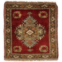 Vintage Turkish Oushak Rug Yastik Accent Rug, Square Accent Rug