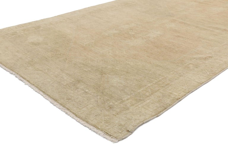 52498 vintage Turkish Oushak runner with modern Amish-Shaker style, hallway runner. This hand knotted wool vintage Turkish Oushak hallway runner creates a stylish runway for nearly any tastefully appointed interior. Like a nourishing exotic tonic to