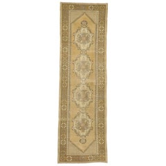 Vintage Turkish Oushak Runner in Warm, Neutral Colors, Hallway Runner