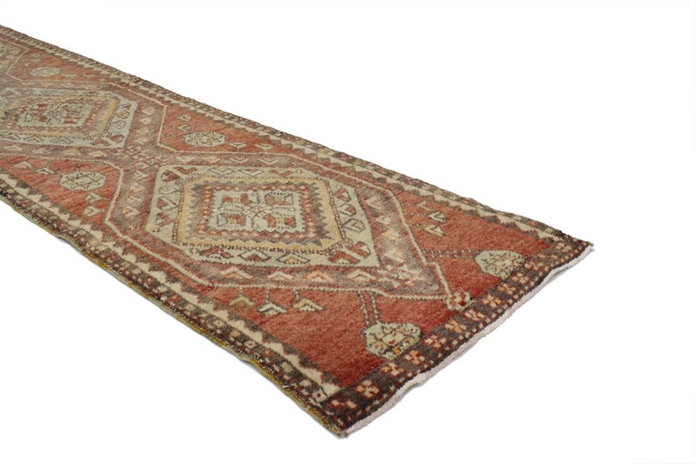 Hand-Knotted Vintage Turkish Oushak Runner, Narrow Hallway Runner For Sale
