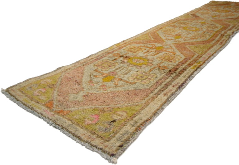 51088 Vintage Turkish Oushak Narrow Hallway Runner with French Provincial Style. Make pass-through spaces pretty with this hand-knotted wool vintage Turkish Oushak runner. This soft colored extra-long hallway runner displays a muted color way of