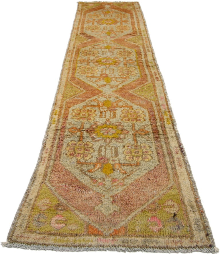 Hand-Knotted Vintage Turkish Oushak Narrow Hallway Runner with French Provincial Style For Sale