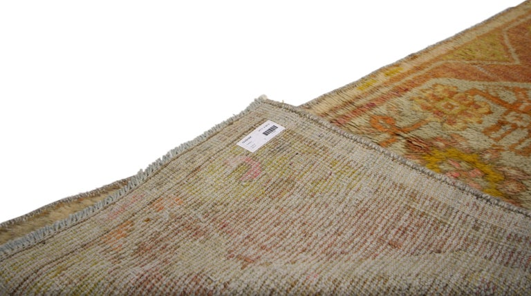 20th Century Vintage Turkish Oushak Narrow Hallway Runner with French Provincial Style For Sale