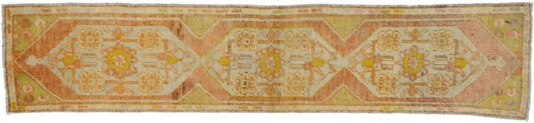 Wool Vintage Turkish Oushak Narrow Hallway Runner with French Provincial Style For Sale