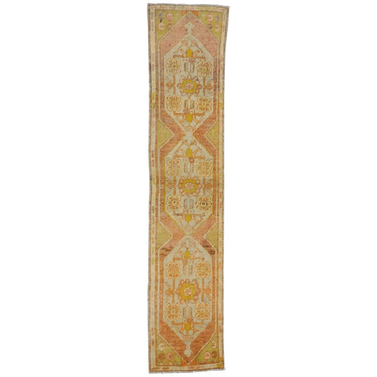 Vintage Turkish Oushak Narrow Hallway Runner with French Provincial Style For Sale