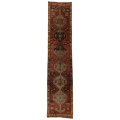 Vintage Turkish Oushak Runner with Rustic Mid-Century Modern Tribal Style