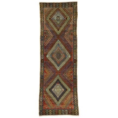 Vintage Turkish Oushak Runner, Tribal Style Hallway Runner