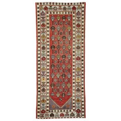 Vintage Turkish Oushak Runner, Wide Hallway Runner