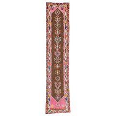 Vintage Turkish Oushak Runner with Eclectic Modern Mexican Frida Kahlo Style