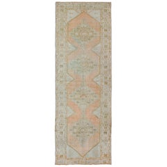 Vintage Turkish Oushak Runner with Faded Coral, Green and Light Brown