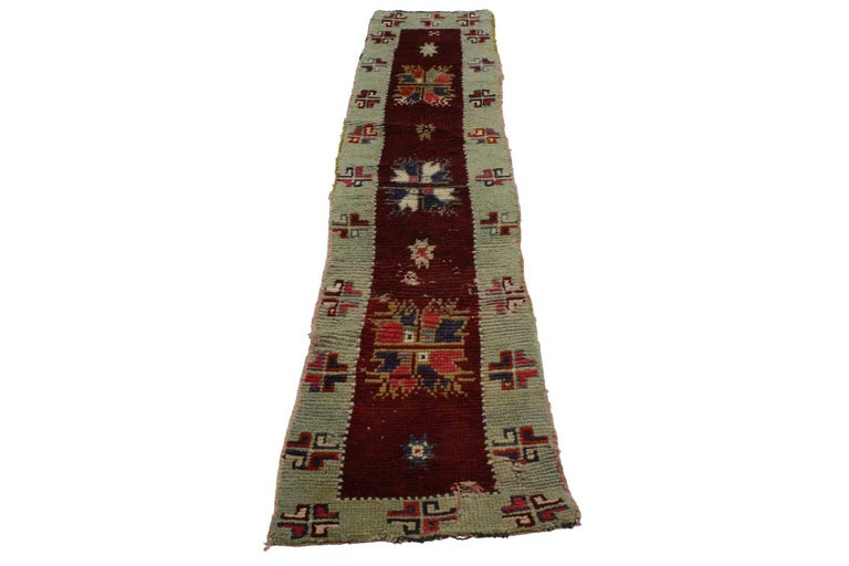 51722, Oushak runner with Farmhouse style. Charming and alluring, this Oushak runner will delight guests to your farmhouse style home in a hallway, entryway, bedroom, or galley kitchen. A deep burgundy, maroon, and wine red field anchors the runner