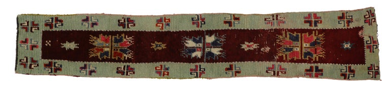 Hand-Knotted Vintage Turkish Oushak Runner with Farmhouse Style, Narrow Hallway Runner For Sale