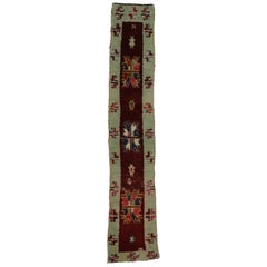 Vintage Turkish Oushak Runner with Farmhouse Style, Narrow Hallway Runner
