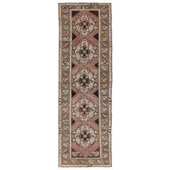 Vintage Turkish Oushak Runner with Floral Medallions in Brown Lavender and Taupe