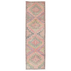Vintage Turkish Oushak Runner with Four Medallion Design in Muted Colors