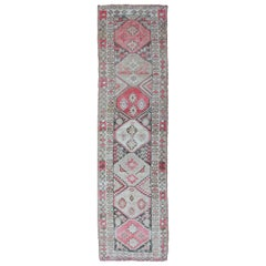 Vintage Turkish Oushak Runner with Geometric Design in Charcoal, Pink, L.Green