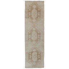 Vintage Turkish Oushak Runner with Geometric Design in Ivory, L.Brown and Taupe