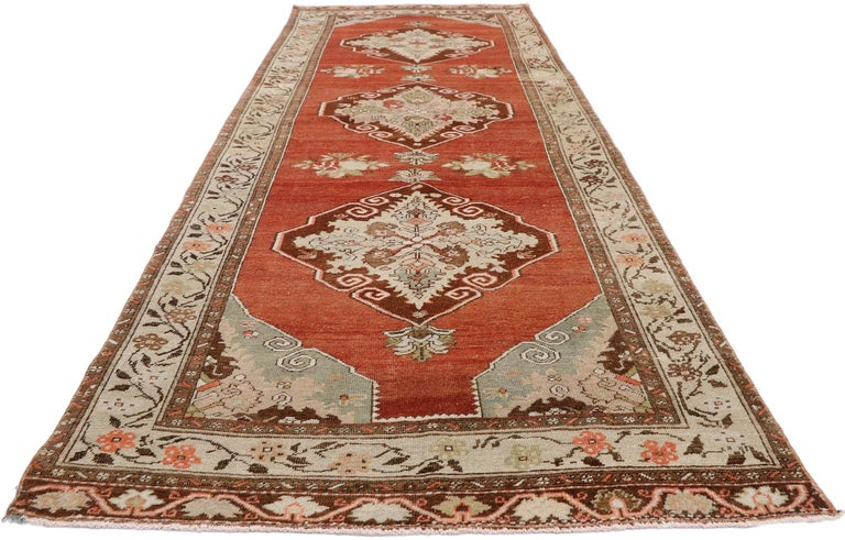 Hand-Knotted Vintage Turkish Oushak Runner with Manor House Tudor Style For Sale