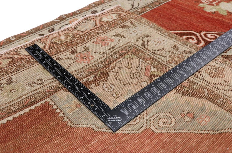 20th Century Vintage Turkish Oushak Runner with Manor House Tudor Style For Sale