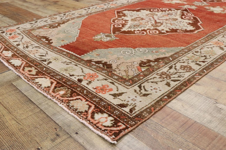 Wool Vintage Turkish Oushak Runner with Manor House Tudor Style For Sale