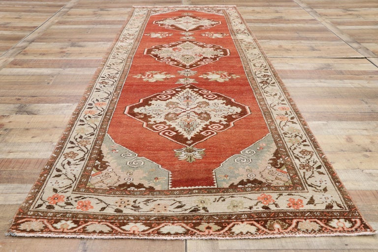 Vintage Turkish Oushak Runner with Manor House Tudor Style For Sale 1