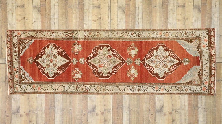 Vintage Turkish Oushak Runner with Manor House Tudor Style For Sale 2