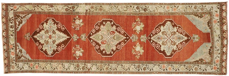 Vintage Turkish Oushak Runner with Manor House Tudor Style For Sale 3