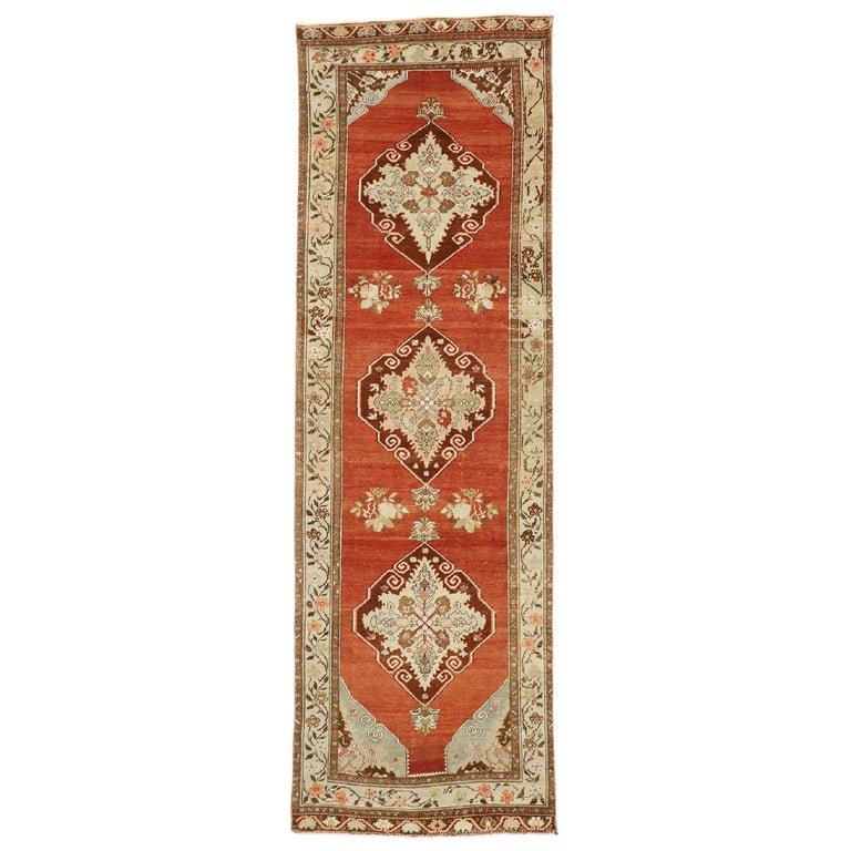 Vintage Turkish Oushak Runner with Manor House Tudor Style For Sale