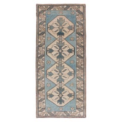 Vintage Turkish Oushak Runner with Medallions in Blue Colors and Beige