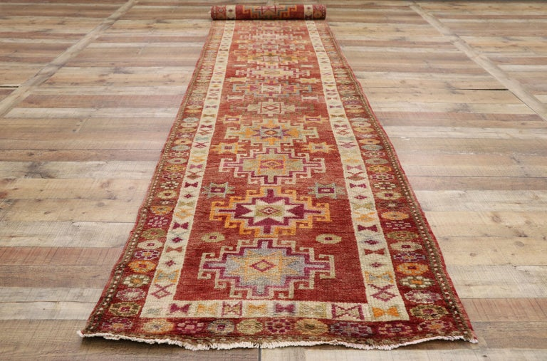 Vintage Turkish Oushak Runner with Mid-Century Modern Art Deco Style For Sale 2