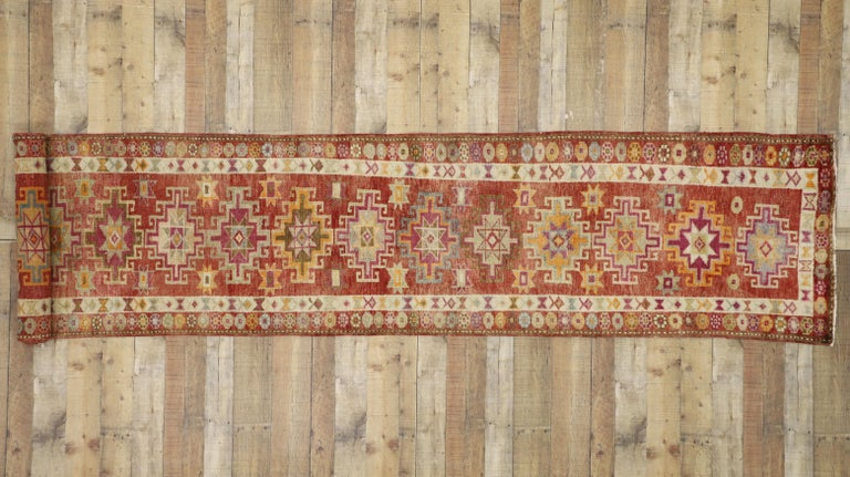 Vintage Turkish Oushak Runner with Mid-Century Modern Art Deco Style In Good Condition For Sale In Dallas, TX