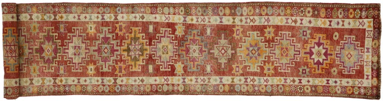 Vintage Turkish Oushak Runner with Mid-Century Modern Art Deco Style For Sale 3