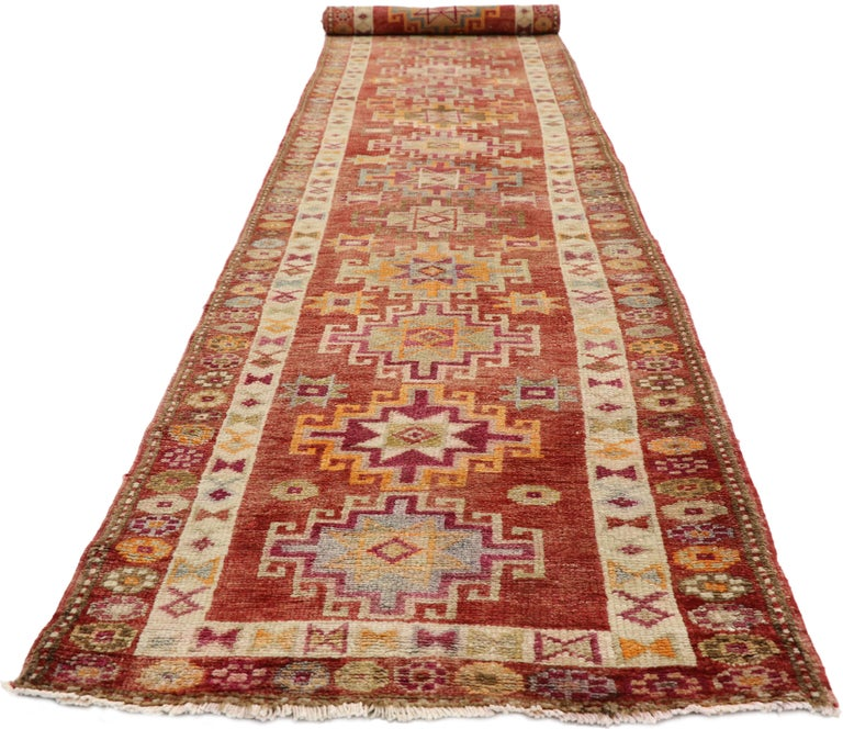 Hand-Knotted Vintage Turkish Oushak Runner with Mid-Century Modern Art Deco Style For Sale