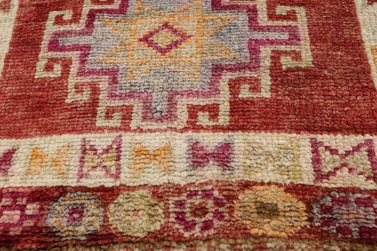 20th Century Vintage Turkish Oushak Runner with Mid-Century Modern Art Deco Style For Sale