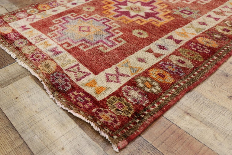 Vintage Turkish Oushak Runner with Mid-Century Modern Art Deco Style For Sale 1