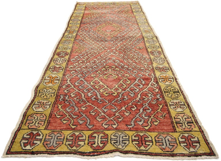 Vintage Turkish Oushak Runner with Modern Tribal Style In Good Condition For Sale In Dallas, TX