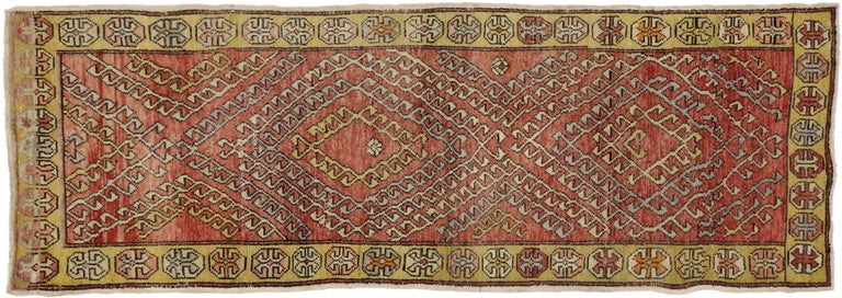 Wool Vintage Turkish Oushak Runner with Modern Tribal Style For Sale