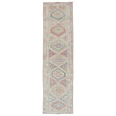 Vintage Turkish Oushak Runner with Multi-Medallion Design in Pink & Muted Tones
