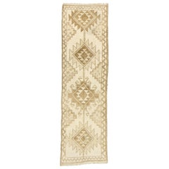 Vintage Turkish Oushak Runner with Neutral Navajo Style