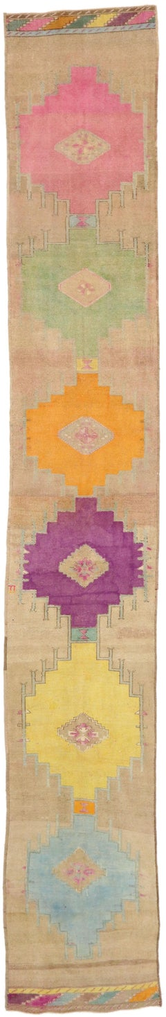 Vintage Turkish Oushak Runner with Retro Modern Style, Extra-Long Hallway Runner