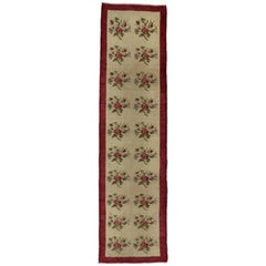 Vintage Turkish Oushak Runner with Rose Bouquets, Narrow Hallway Runner