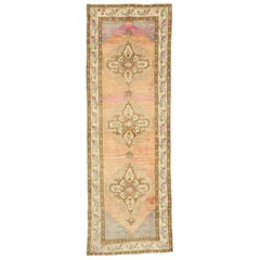 Vintage Turkish Oushak Runner with Rustic Cottage Style