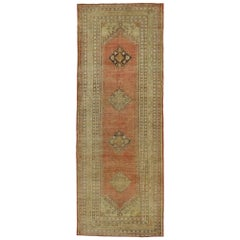 Vintage Turkish Oushak Runner with Soft Muted Colors with Rustic Mission Style