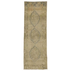 Vintage Turkish Oushak Runner with Warm, Neutral Colors, Hallway Runner
